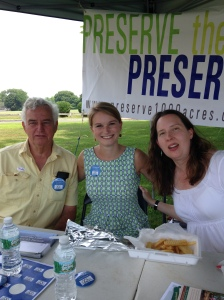 Bill Peace, Nicole Granath and Kate Brown at The Preserve info tent on voting day.